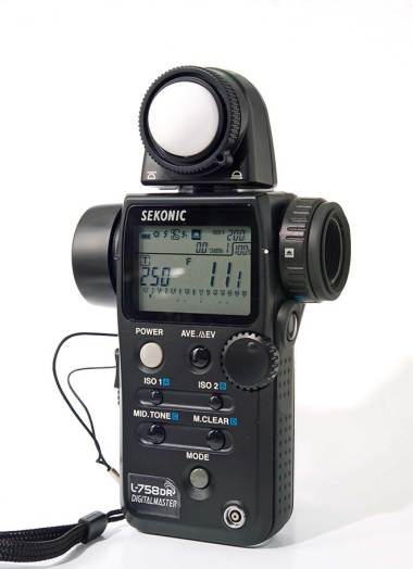 Sekonic meter, circa 2008-09. The L-748DR has the distinction of being the first commercially available meter to featurethe power to store camera system profiles to increase the accuracy and targeting of exposures. This weatherproof meter has a built-in Pocket Wizard trigger and a slew of other nice stuff.